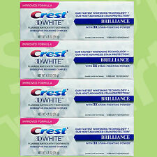 4 x CREST 3D WHITE NEW BRILLIANCE TOOTHPASTE (4.1oz/116g) FLUORIDE ANTI-CAVITY