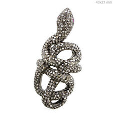 Ruby Wrap Snake Ring Pave Diamond Sterling Silver Vintage Style Studded Jewelry