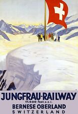 Travel  Poster Swittzerland Jungfrau Region Swiss Ski