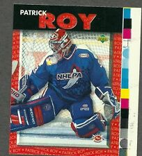1995-96 Post UD Patrick Roy Oversized Proof Variety, and Card As Issued (2)