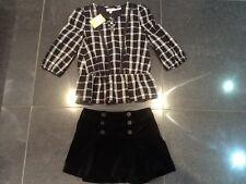 NWT Juicy Couture & Génération Velours Noir Jupe & Chemise Coton Ensemble Filles
