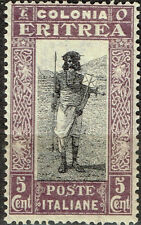 Italian Eritrea African Tribal Warrior stamp 1934 MLH