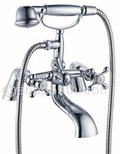 Traditional Victorian Bath Shower Mixer Bath Filler Tap Chrome Solid Brass UK
