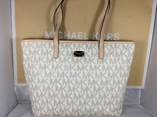 NWT Authentic Michael Kors Vanilla PVC Jet Set Laptop Computer Tote Bag Purse