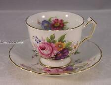 Aynsley footed cup and saucer pattern 2383 with floral bouquet and gold trim