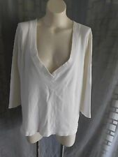 Women's Chico's Solid White Deep Plunge V-Neck 3/4 Sleeve Knit Tee Top - Size 2