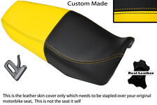 YELLOW & BLACK CUSTOM FITS SUZUKI EN 125 DUAL LEATHER SEAT COVER