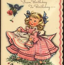 ELIZABETH VOSS..GIRL CATCHES ROSES IN APRON,BIRD,VINTAGE BIRTHDAY GREETING CARD
