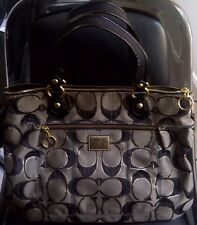 AUTH COACH POPPY GLAM SIGNATURE METALLIC LARGE TOTE BAG PURSE 17890 BLACK/GRAY