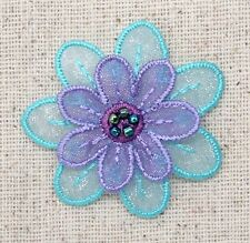 Iron On Embroidered Applique Patch- Purple/Turquoise Blue Organza Layered Flower