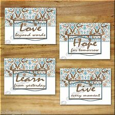 Blue Brown Elegant Damask Wall Art Prints Quotes Learn Live Love Hope Bathroom +