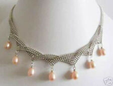 Charming! 7-8mm Pink Akoya Cultured Pearl Necklace AAA+