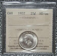 1937 CANADA - 25 CENTS SILVER - ICCS Graded MS 64 - WWII era - Nice -NCC