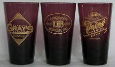Rose Colored glass Wisconsin beer, brewery pint glasses, set of  3, very rare