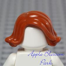NEW Lego Girl Minifig Short Dark ORANGE HAIR - Female Wavy Curled Up Head Gear