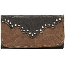 American West Annie's Secret Ladies Try Fold Leather Wallet  Brown Coco