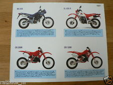 H262 HONDA BROCHURE NX250,CR250R,CR125R,XL600R DUTCH 1 PAGES & 1987 DATE STICKER