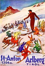 Austria Arlberg Tirol European Winter Ski Europe Travel Advertisement Poster