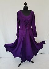Long Rayon&Satin Gothic PURPLE elasticated back lace up full sleeve 14 16 18 20