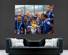 LEICESTER CITY FOOTBALL CHAMPIONS POSTER VARDY MAHREZ 2016 ART PRINT LARGE