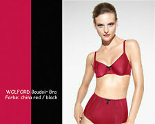Wolford Boudoir bra * 75b * china Red/Black *... refinados elegante satén-BH