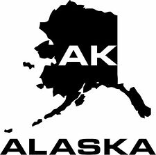 2  Alaska AK  State USA Outline Map Stickers Decals 20 Colors To Choose From
