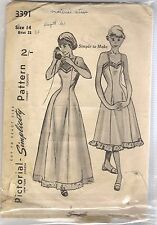 Simplicity Sewing Pattern 3391, Vintage 1950's Slip or Dress, Size 14  Bust 32