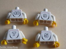 Lego 4 torses set 3569 /4 white torso with stickers back and front from minifig