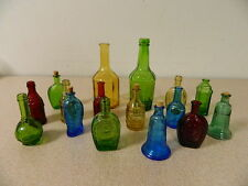 16 VINTAGE WHEATON COLORED BOTTLES 14 MINI & 2 TALL - WONDERFUL OLD COLLECTION