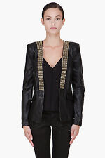 PIERRE BALMAIN BLACK LEATHER STUDDED BLAZER JACKET 8 40 36 £1300!