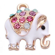 10pcs Elephant Animal Multicolor Rhinestone White Enamel Alloy Pendant Jewelry J