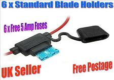6 X SPLASH PROOF STANDARD BLADE IN LINE HOLDER WITH 5 AMP FREE FUSES (F)