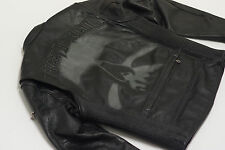 Harley Davidson Mens RUSHMORE Skull Black Leather Jacket L REFLECTIVE 97188-10VM