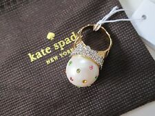 NWT Auth Kate Spade Carnival Nights Ice Cream Cone Crystal Pearl Ring Sz 7 $98