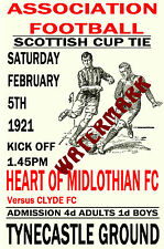 HEART OF MIDLOTHIAN - VINTAGE 1920's STYLE MATCH POSTER