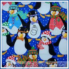 BonEful Fabric FQ Cotton Quilt Blue Rainbow L PENGUIN Snow*flake Glitter Sparkle