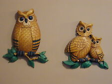 2 pc Set Owls HOMCO USA 7403 Wall Hangings DART IND from 1976 EC