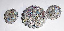 Vintage Aurora Borealis Faceted Crystal Round Brooch And Clip On Earring Set-EUC