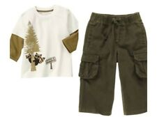 Gymboree Wilderness Club 18-24 mo Raccoon Top & Cargo Pant Set Olive Green