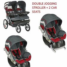NEW Baby Trend Double Jogging Stroller with 2 Car Seats INTERNATIONAL SHIP
