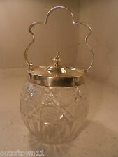 Silver Plate Cut Glass Biscuit Barrel    ref 351