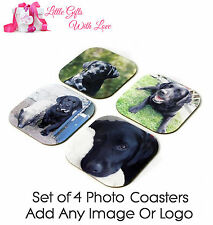Personalised Set Of 4 Your Own Photo, Design Or Logo Drink Coasters Mats