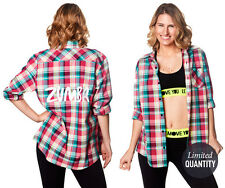 Zumba Crazy Happy Flannel Shirt-SOLD out Zumba.com Bright Pink Size Large