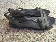 Women CROCS SHOES Size 10(Like Mary Janes Style) Sandals Brown Kd1