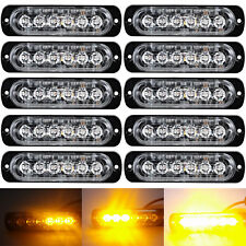 10x Amber/Yellow 6LED Emergency Hazard Warning Flash Strobe Beacon Caution Light