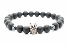 Onyx Stone Unisex Beaded Bracelet with Crown Charm Handmade