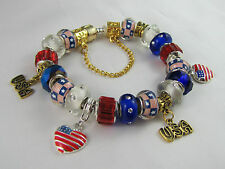 "GORGEOUS GOLDEN 925 STAMPED 21cm EUROPEAN STYLE CHARM BRACELET  ""AMERICAN DREAM"""