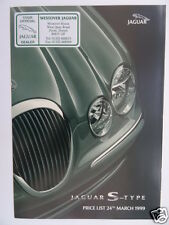 Jaguar S-Type Price List 1999 - 3.0 V6, 3.0 V6 SE, 4.0 V8 Models