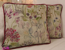 Pair Voyage Hedgerow Velvet Cushion Covers 35x35 Piped floral pink maison style