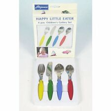 "Stainless Steel Children's Cutlery Set (4pc) "" Happy Little Eater"""